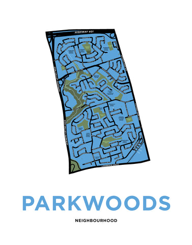 Parkwoods Neighbourhood Map Print