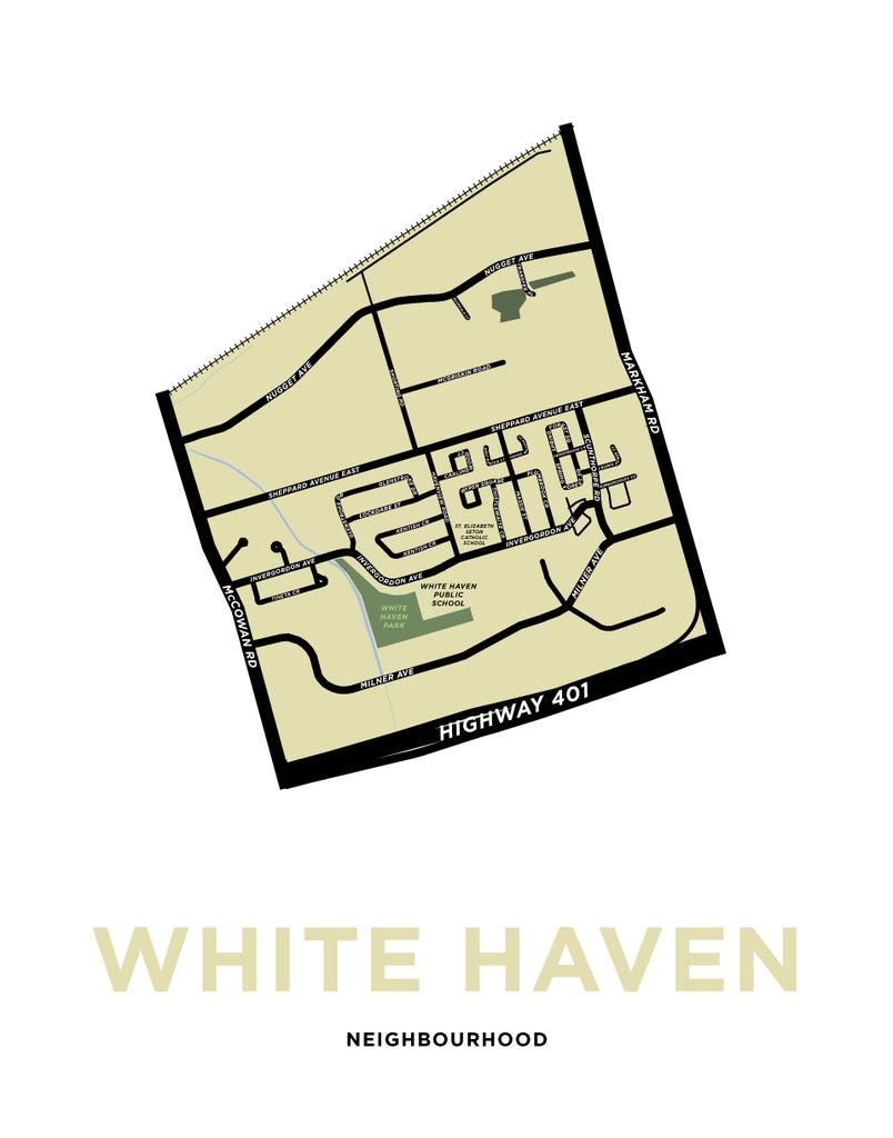 White Haven Neighbourhood Map Print