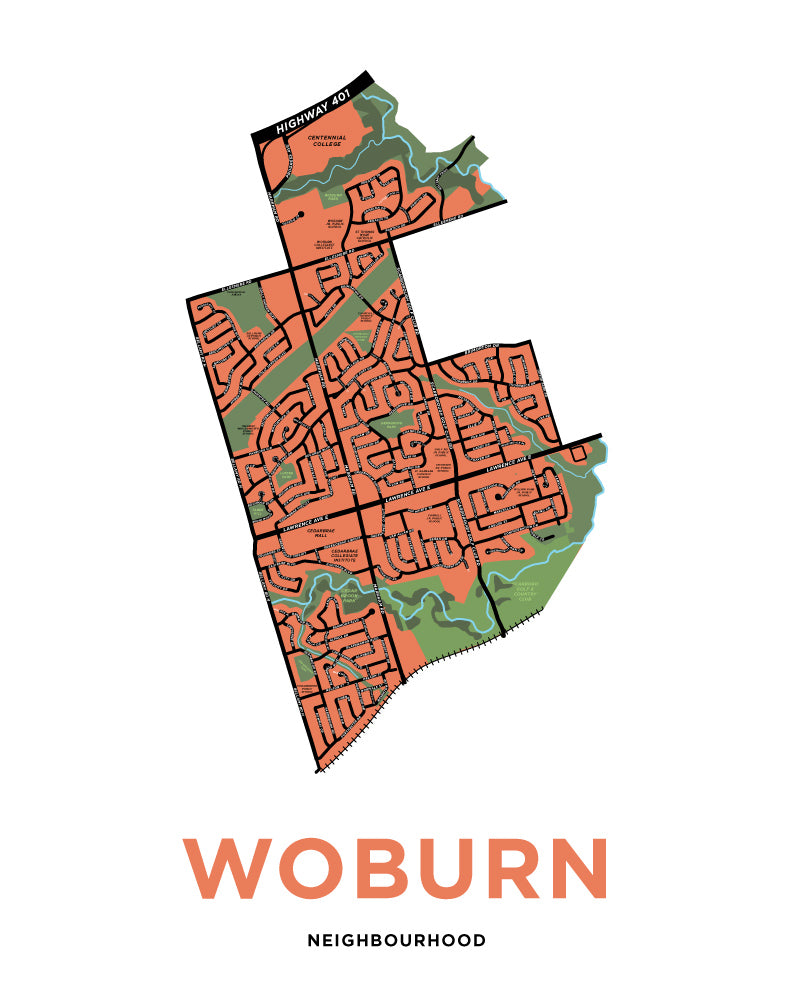 Woburn Neighbourhood Map Print
