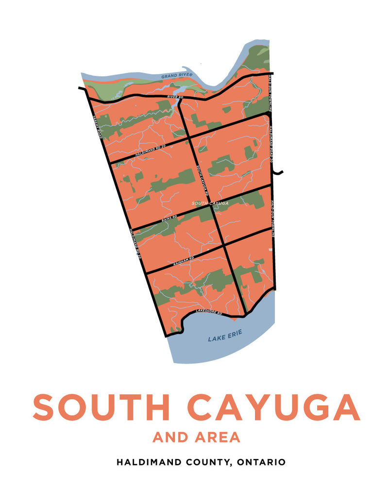 South Cayuga Area Map Print