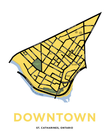 Downtown St. Catharines Neighbourhood Map Print