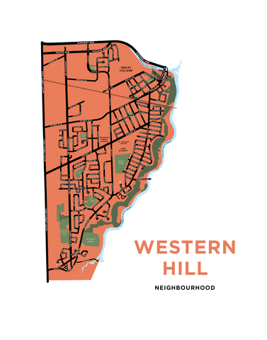 Western Hill Map Print