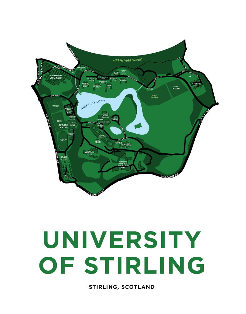 University of Stirling Campus Map Print