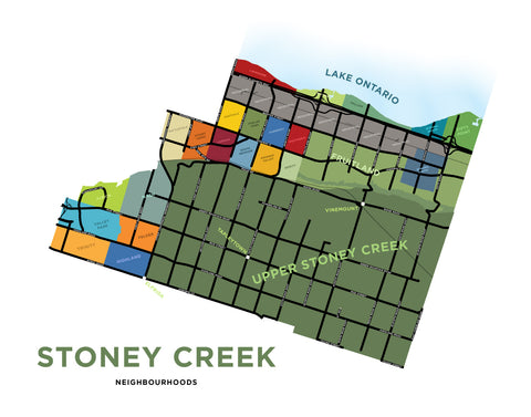 Stoney Creek Neighbourhoods Map