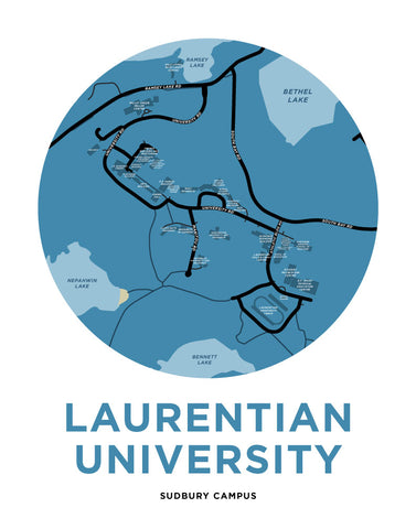 Laurentian University Map Print - Sudbury Campus