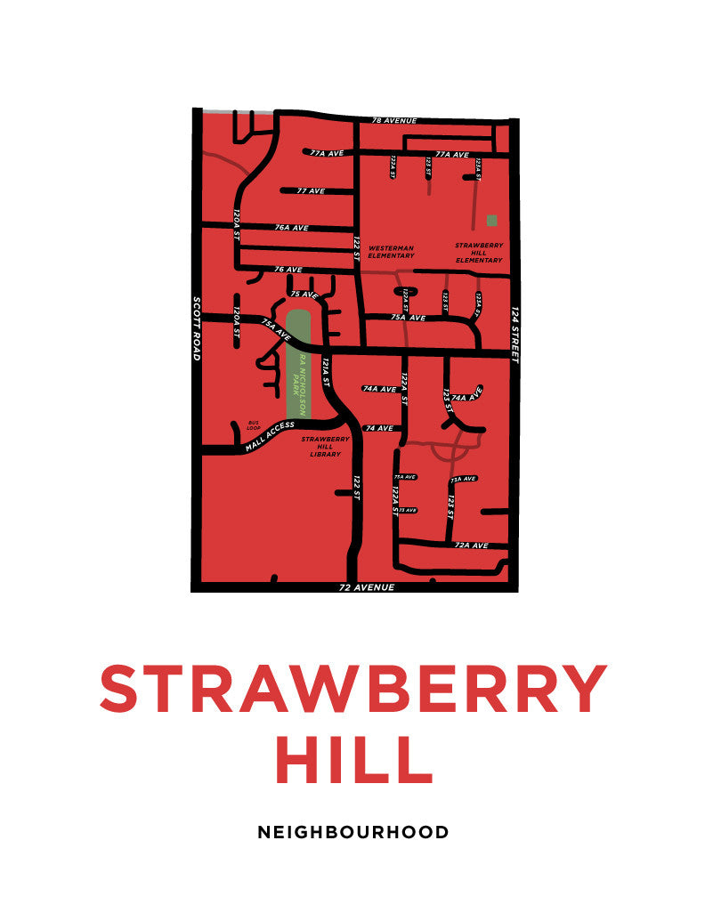 Strawberry Hill Neighbourhood Map Print (Surrey, BC)