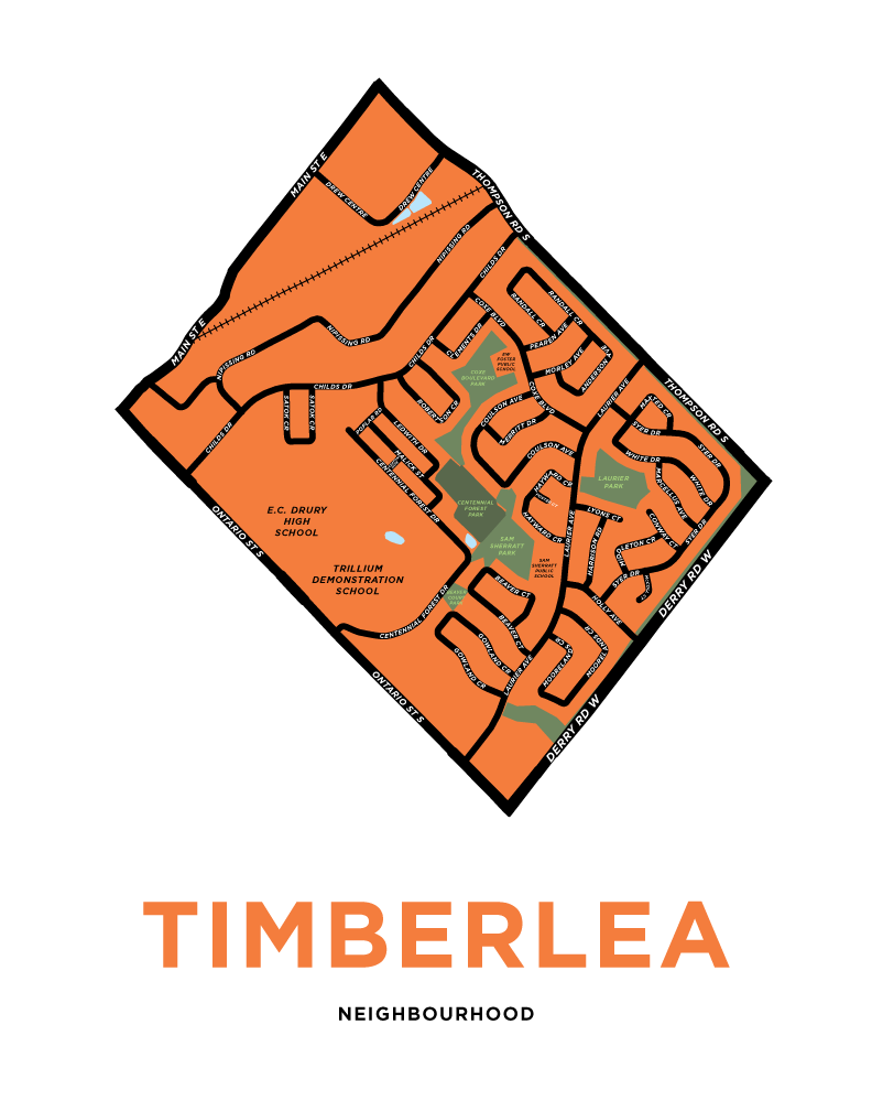 Timberlea Neighbourhood Map Print
