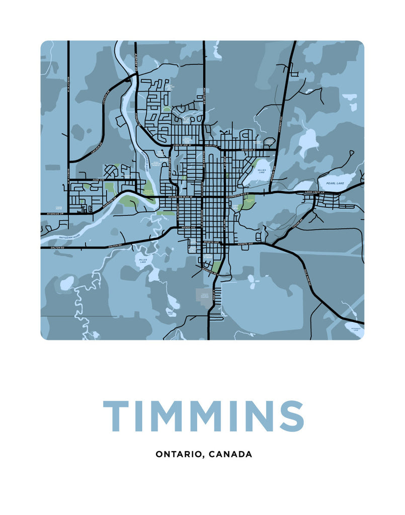 Timmins Ontario Map On Ontario Canada Timmins Map Print – Jelly Brothers