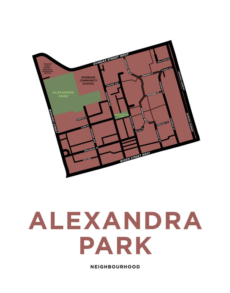 Alexandra Park Neighbourhood Map Print