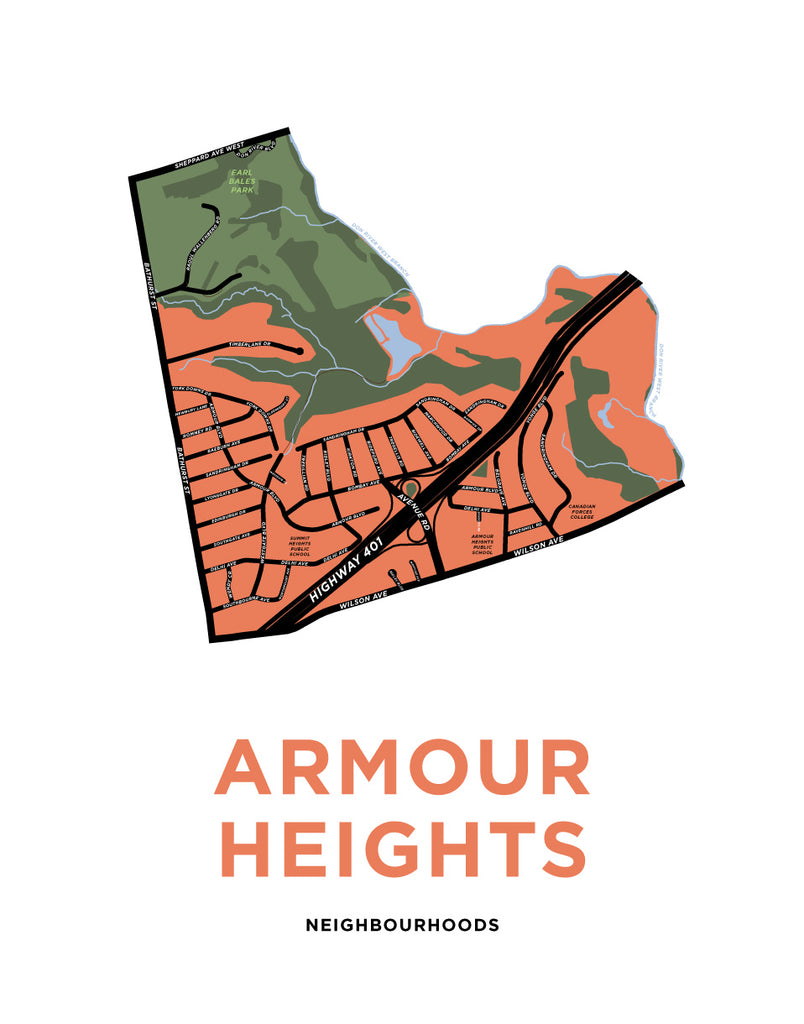 Armour Heights Neighbourhood Map Print
