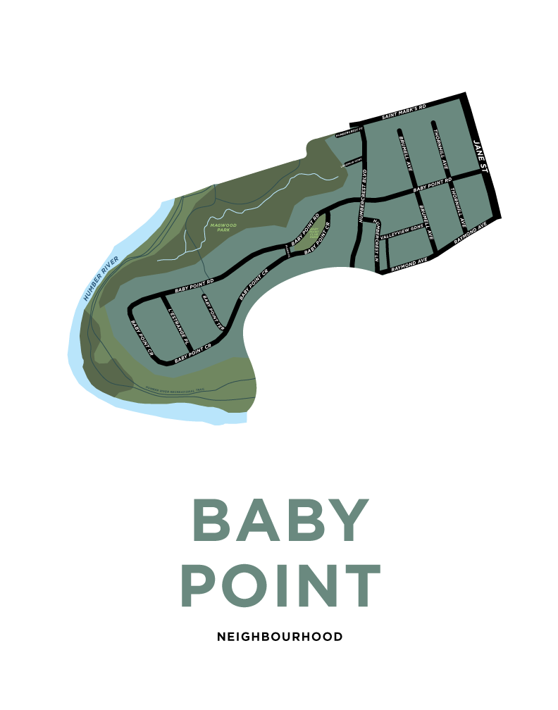 Baby Point Neighbourhood Map Print