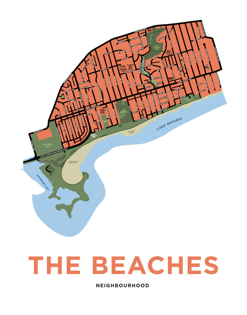 Beaches, The - Neighbourhood Map Print
