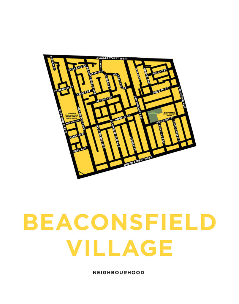 Beaconsfield Village Neighbourhood Map Print