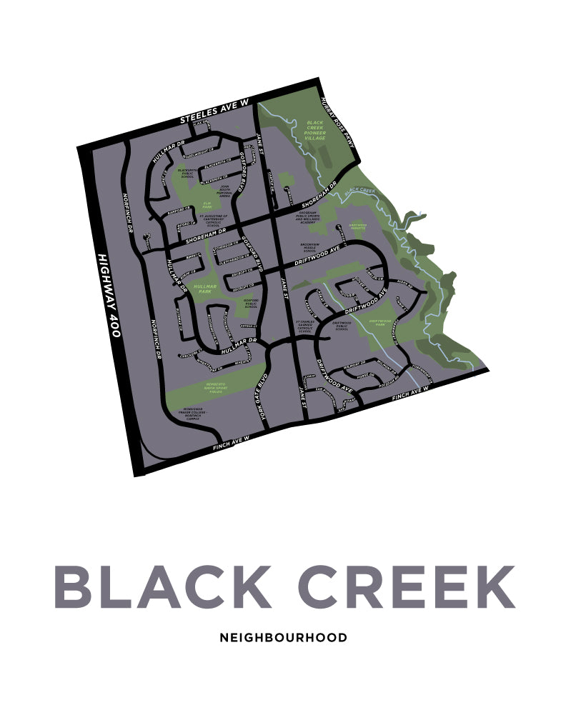 Black Creek Neighbourhood Map Print