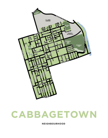 Cabbagetown Neighbourhood Map Print (Toronto)