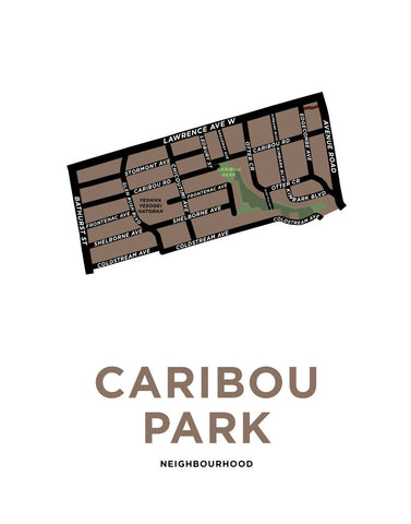 Caribou Park Neighbourhood Map Print