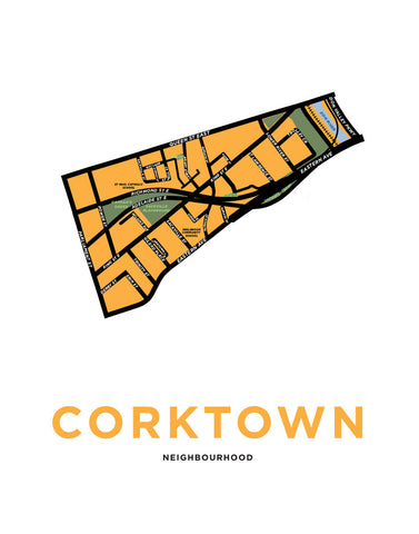 Corktown Neighbourhood Map Print (Toronto)