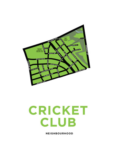 Cricket Club Neighbourhood Map Print