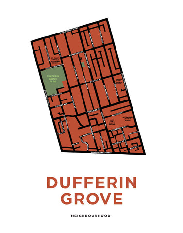 Dufferin Grove Neighbourhood Map Print