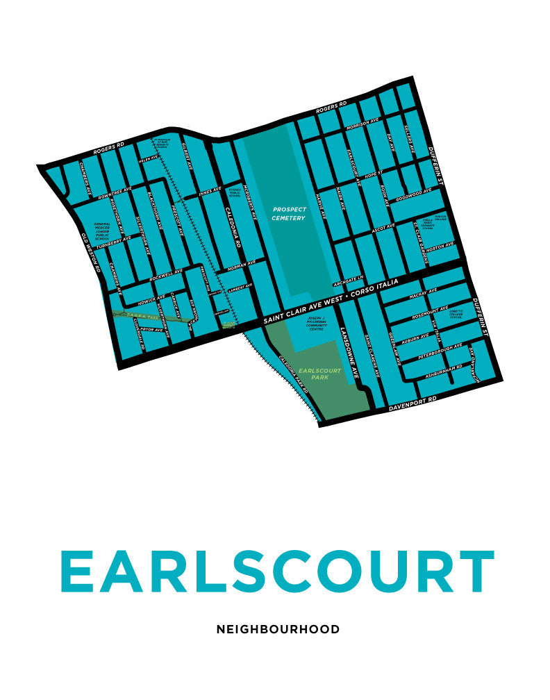 Earlscourt Neighbourhood Map Print