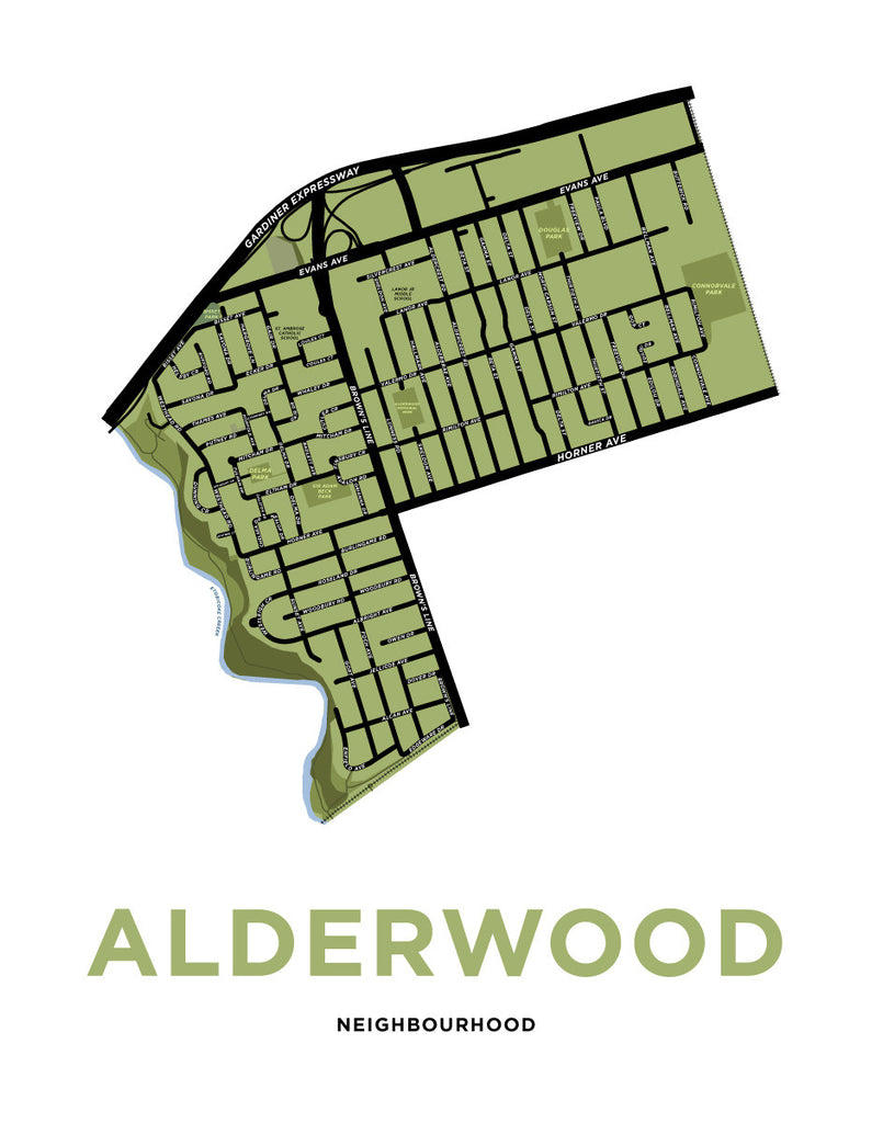 Alderwood Neighbourhood Map Print
