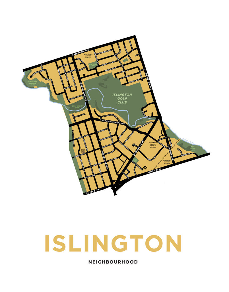 Islington Neighbourhood Map Print (Etobicoke)