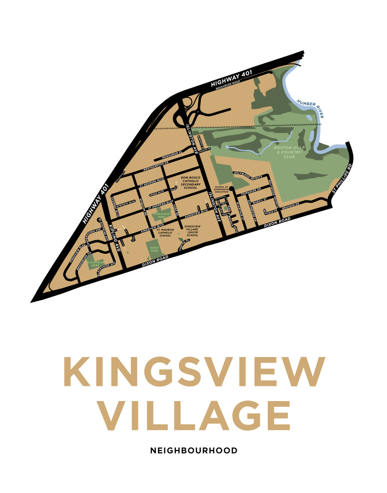 Kingsview Village Neighbourhood Map Print