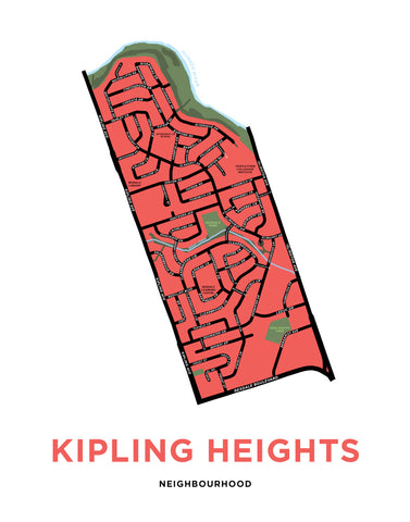 Kipling Heights Neighbourhood Map Print