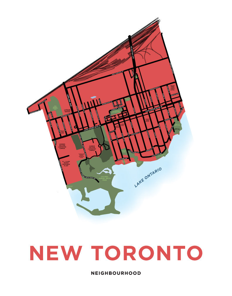 New Toronto Neighbourhood Map Print (Etobicoke)