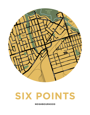 Six Points Neighbourhood Map Print