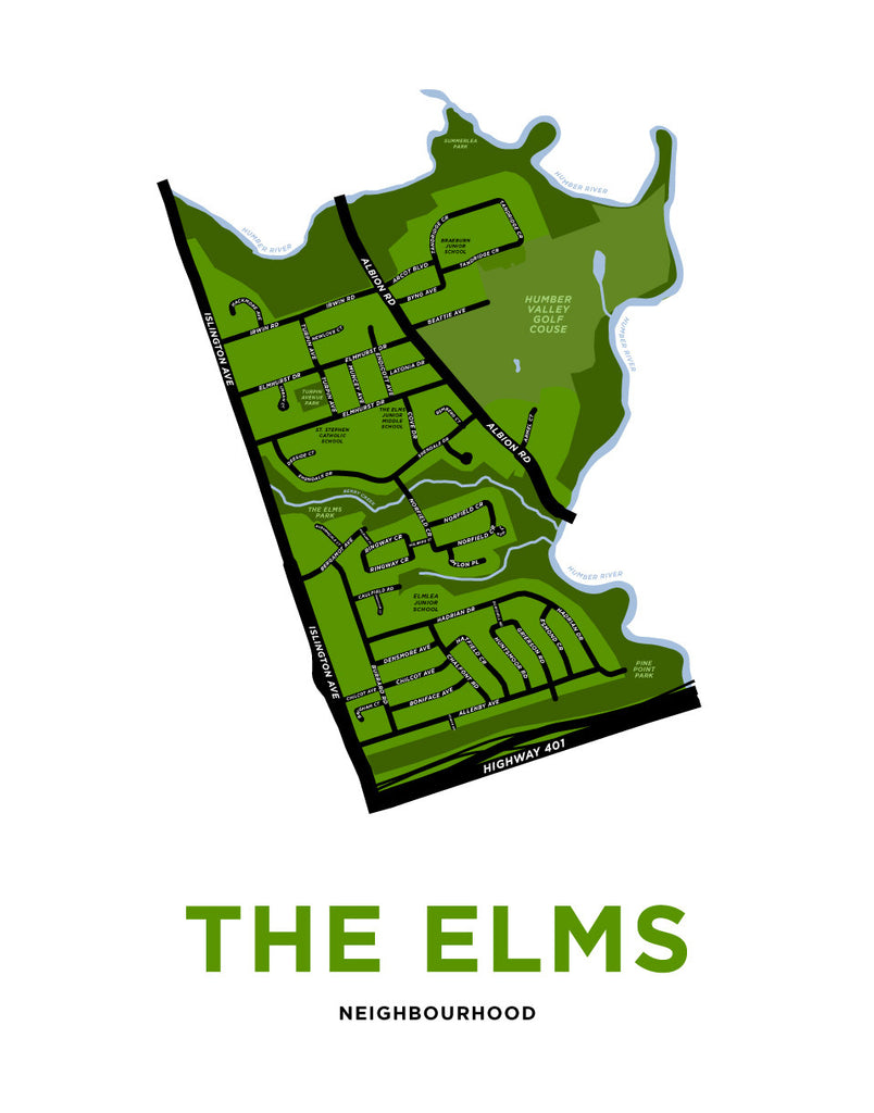 The Elms Neighbourhood Map Print
