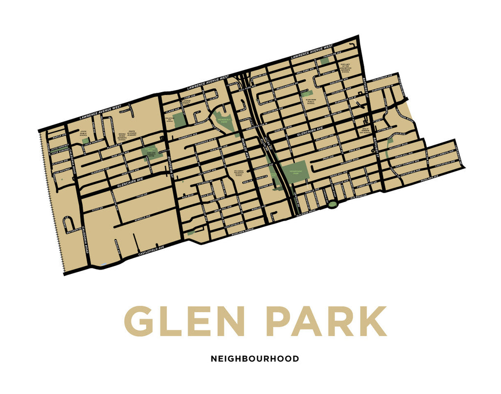 Glen Park Neighbourhood Map Print