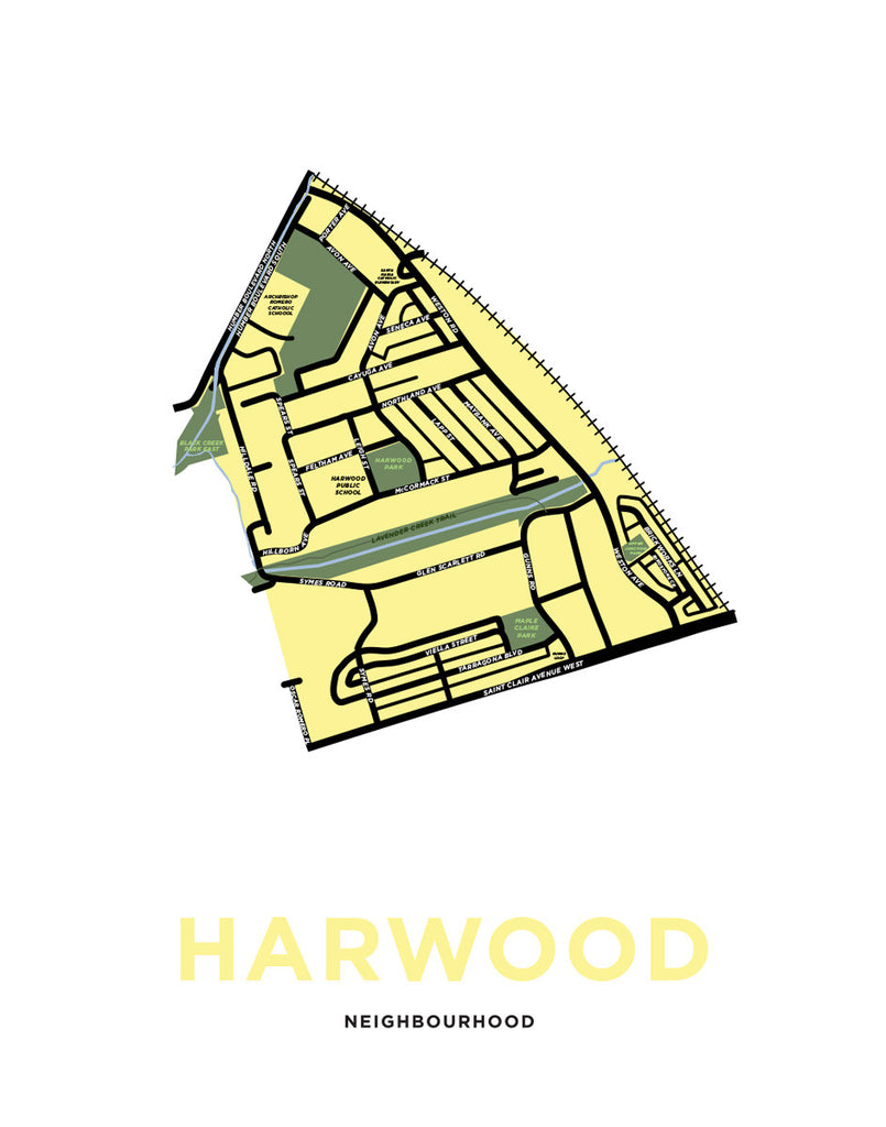 Harwood Neighbourhood Map Print