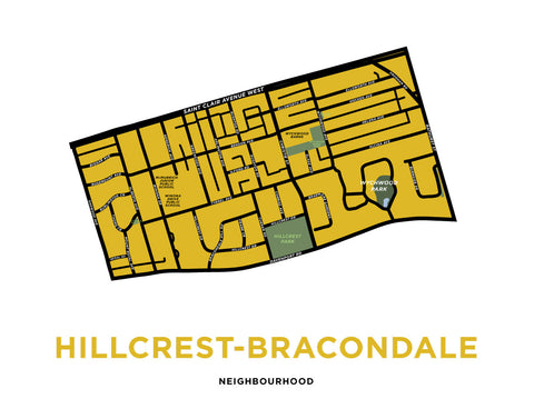 Hillcrest-Bracondale Neighbourhood Map Print