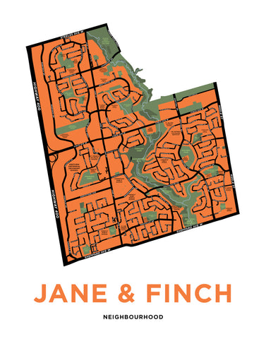 Jane & Finch Map Print