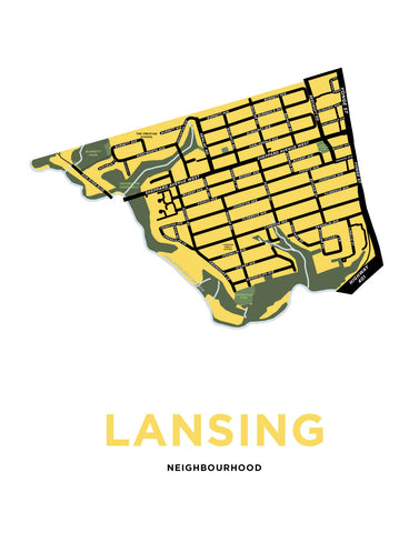 Lansing Neighbourhood Map Print