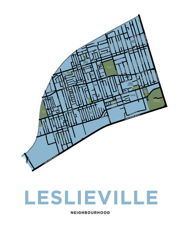 Leslieville Neighbourhood Map Print