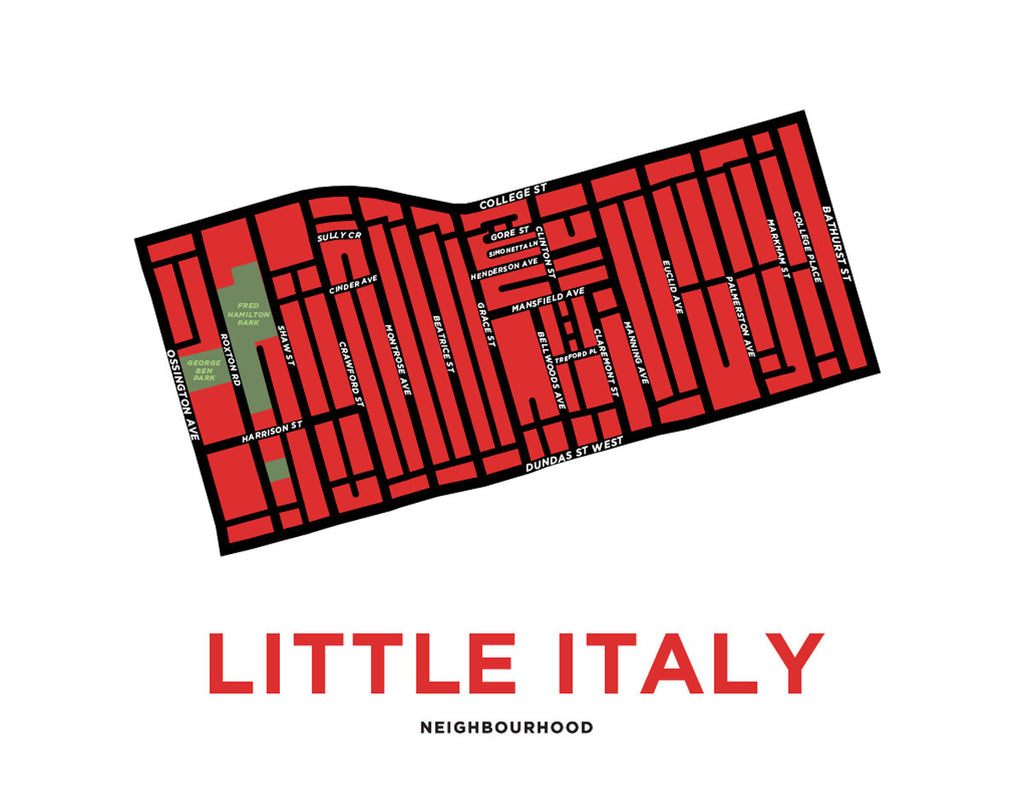 Little Italy Neighbourhood Map Print Jelly Brothers