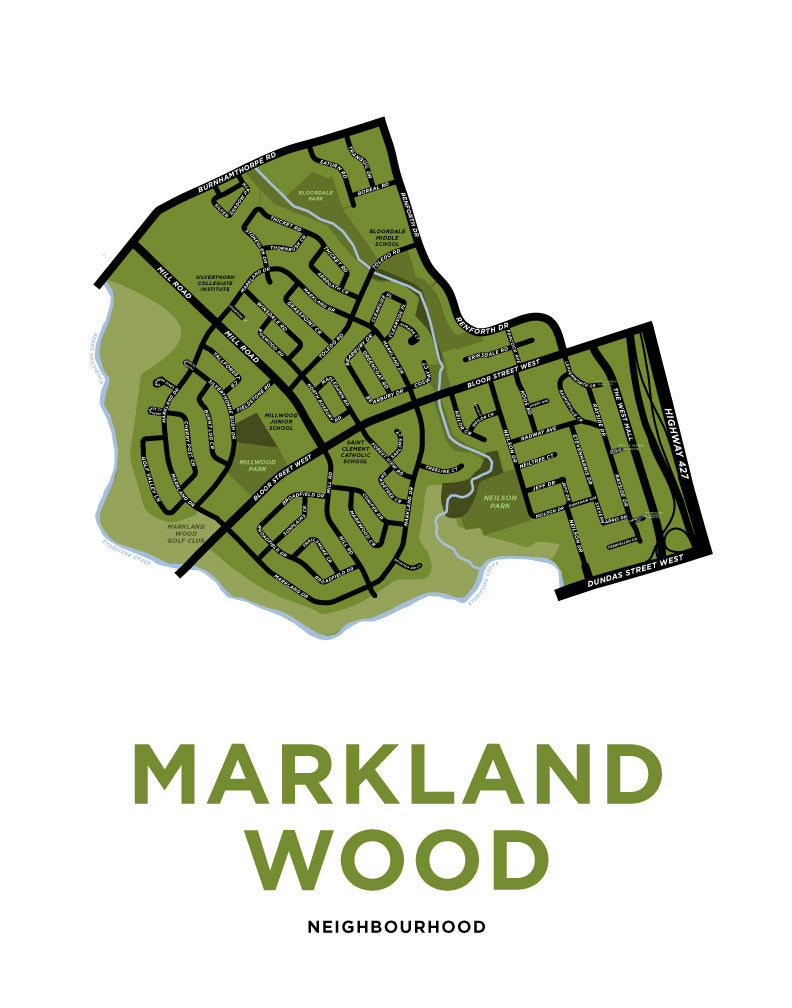 Markland Wood Neighbourhood Map Print