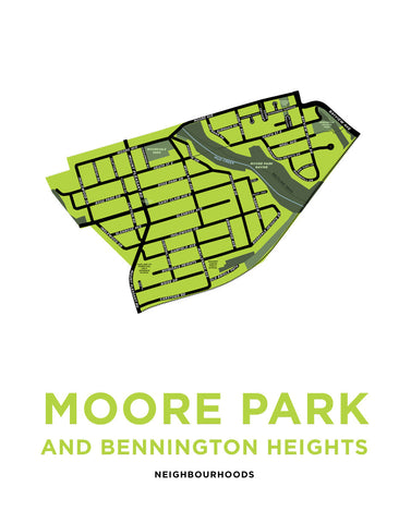 Moore Park and Bennington Heights Neighbourhoods Map Print