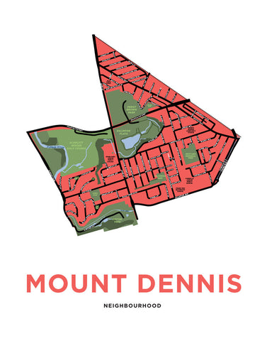 Mount Dennis Neighbourhood Map Print
