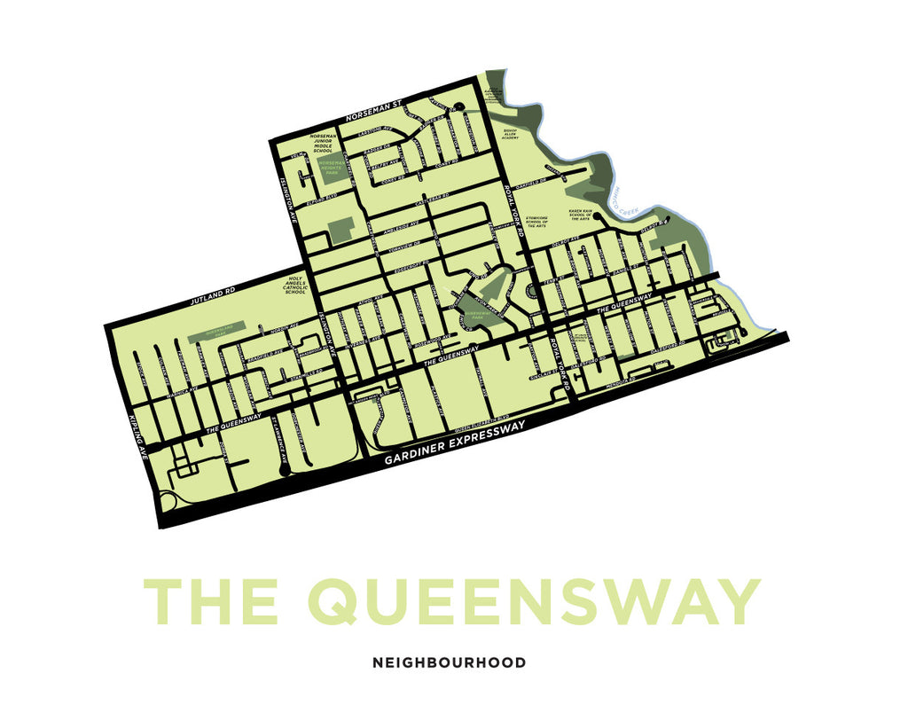 The Queensway Neighbourhood Map Print
