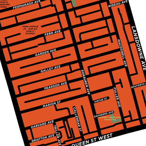Roncesvalles Neighbourhood Map Print
