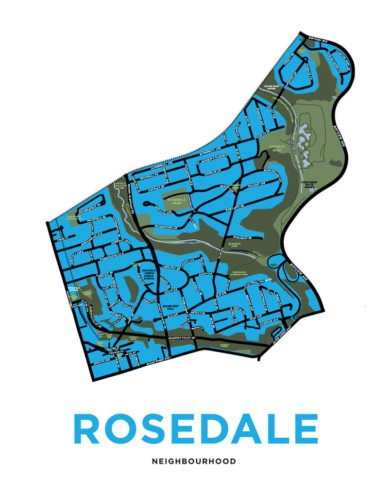 Rosedale Neighbourhood Map Print (Toronto)