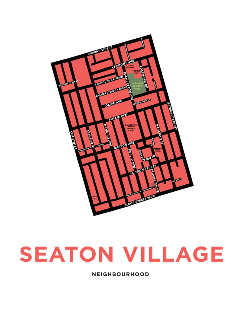 Seaton Village Neighbourhood Map Print
