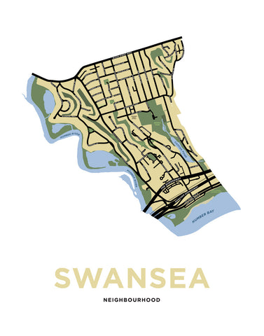 Swansea Neighbourhood Map Print