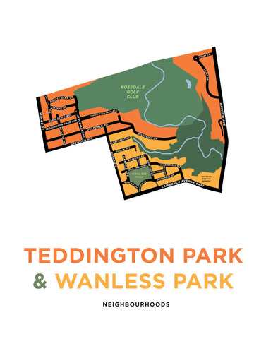 Teddington Park and Wanless Park Neighbourhoods Map Print