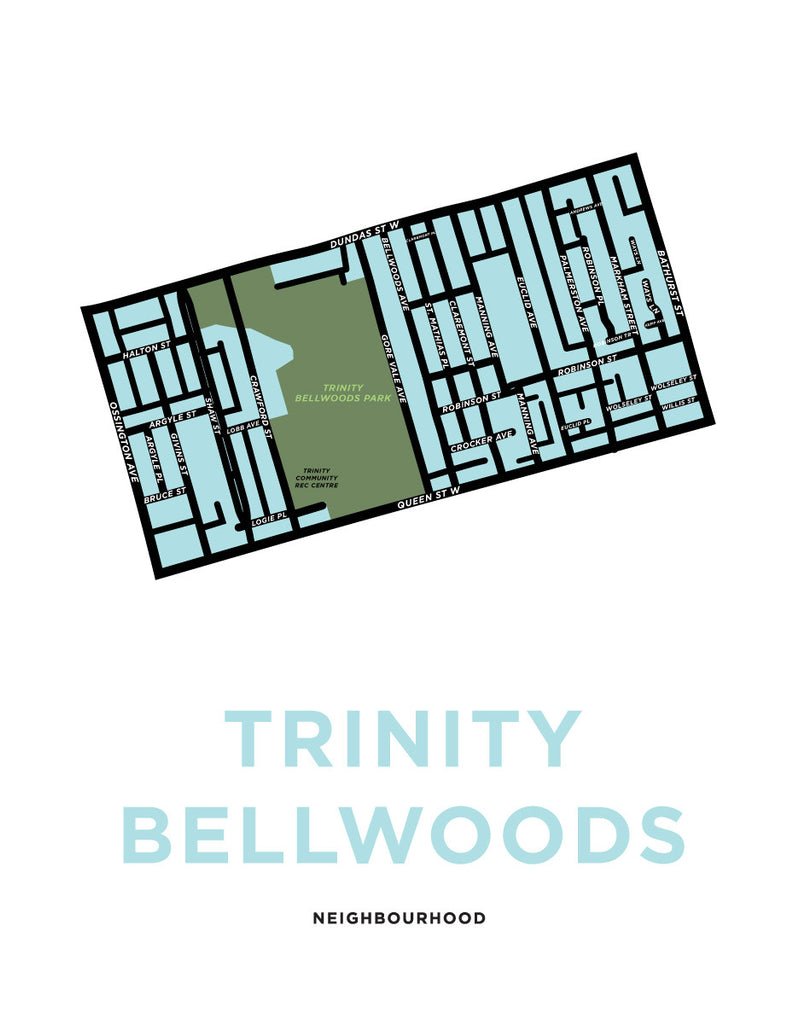 Trinity Bellwoods Neighbourhood Map Print