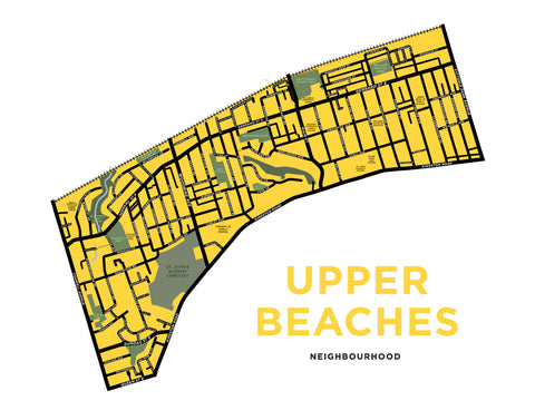 Upper Beaches Neighbourhood Map Print