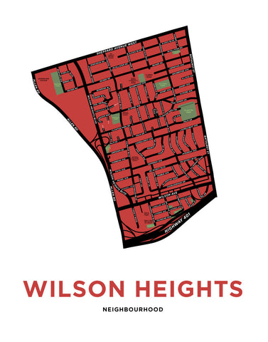 Wilson Heights Neighbourhood Map Print